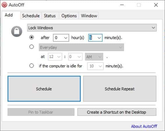 AutoOff task scheduler
