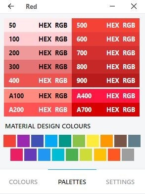 ColourDock palettes material design
