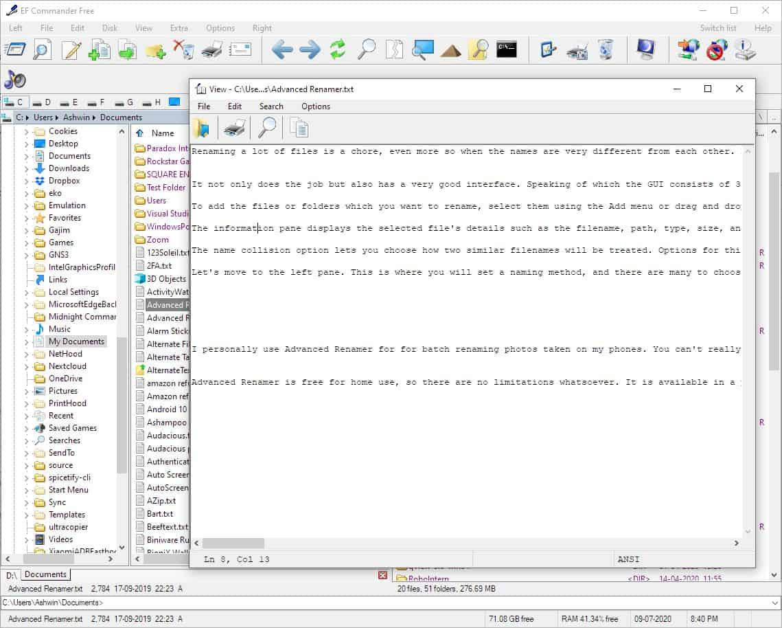 EF Commander Free file viewer editor