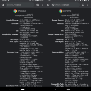 Google android chrome 64-bit version