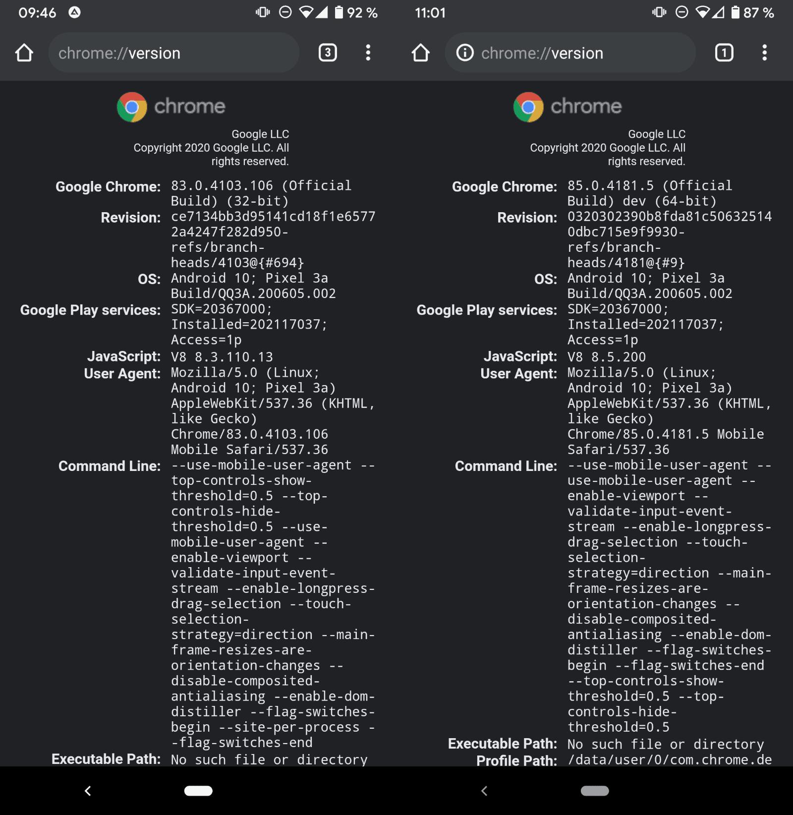 Google android chrome 64-bit version
