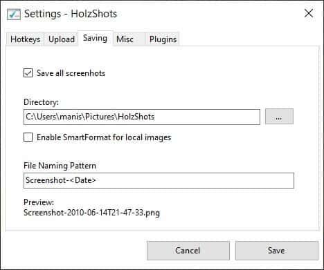 HolzShots Settings
