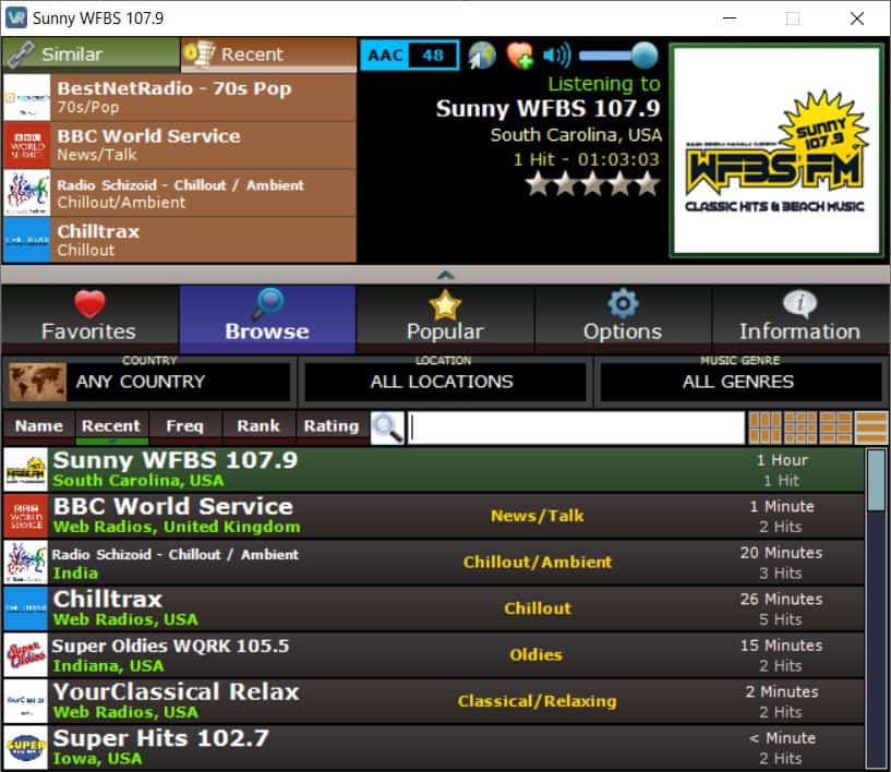Listen to online radio stations with VRadio; a portable application for Windows