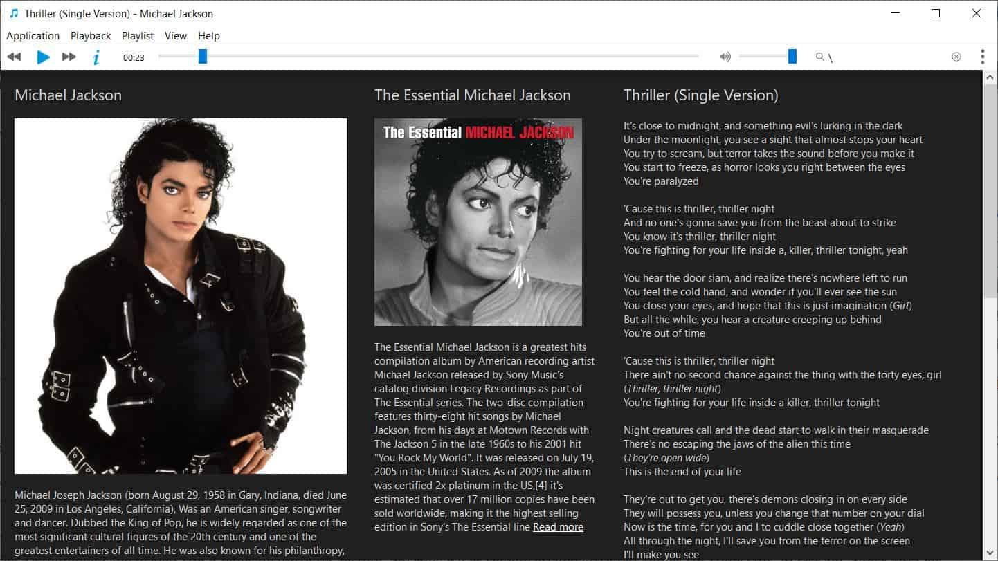 Musique lyrics viewer and artist information