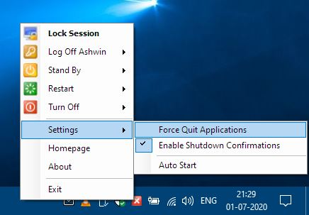 Oxybits Easyshutdown settings