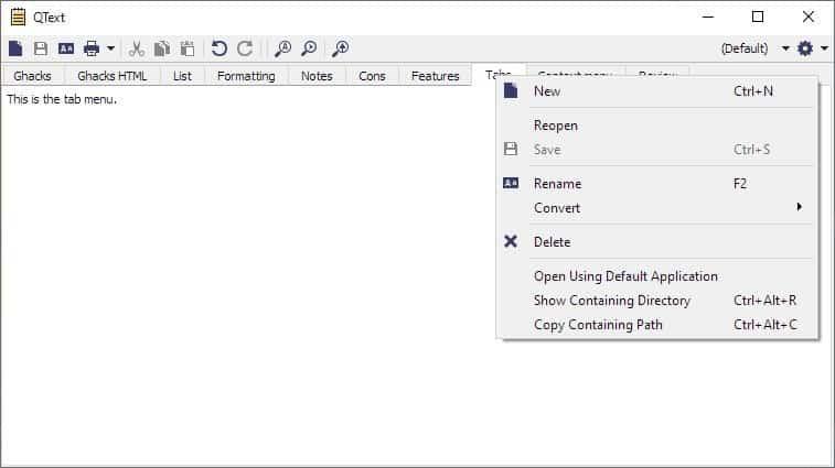 QText tab menu