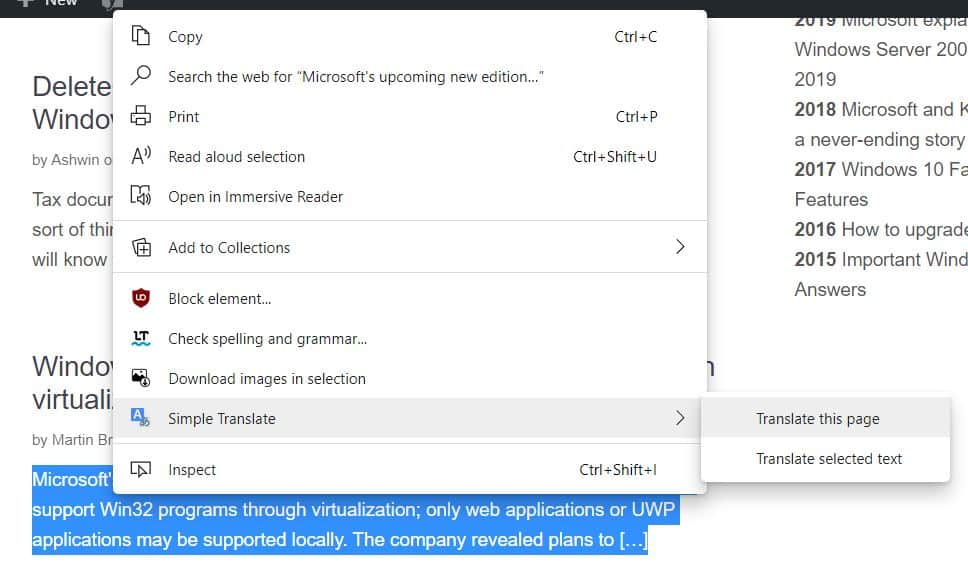 Simple Translate context menu