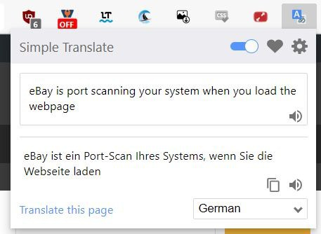 Simple Translate popup interface