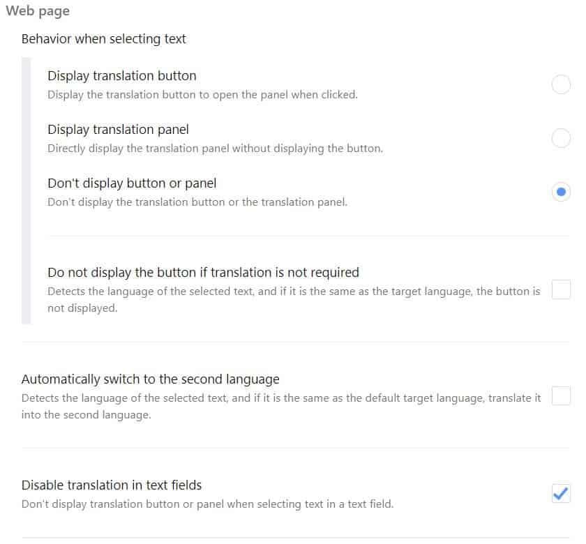 Simple Translate settings 2