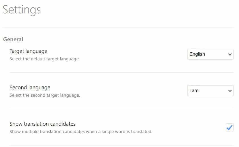 Simple Translate settings