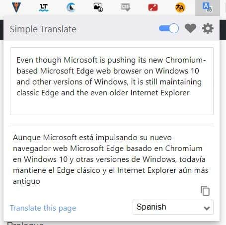 Translate selected text quickly with the Simple Translate extension for Chrome and Firefox