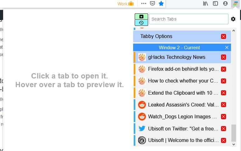 View tab previews, save and restore sessions with the Tabby - Window & Tab Manager extension for Firefox