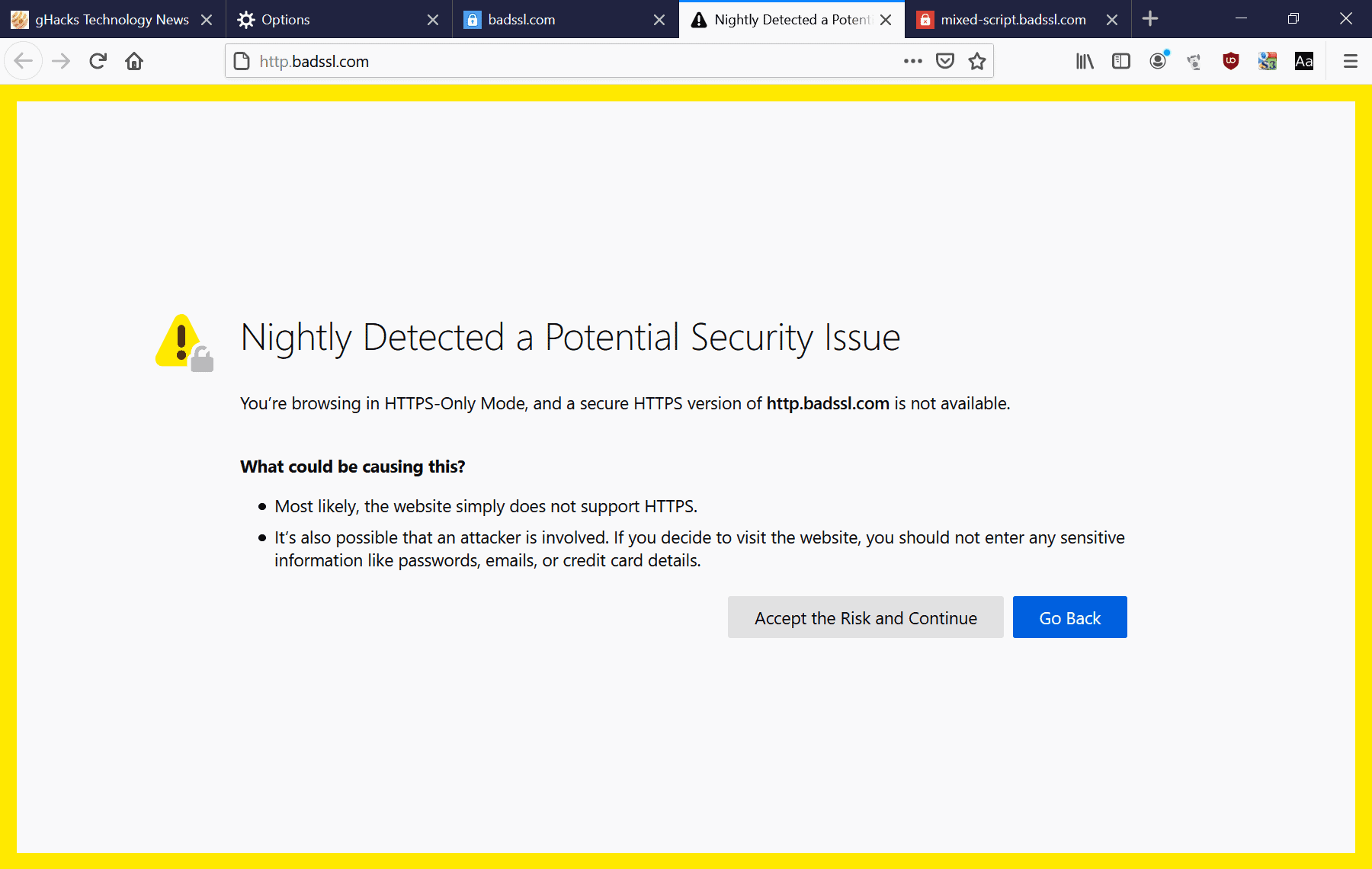 Firefox 80: HTTPS-only Mode in Settings