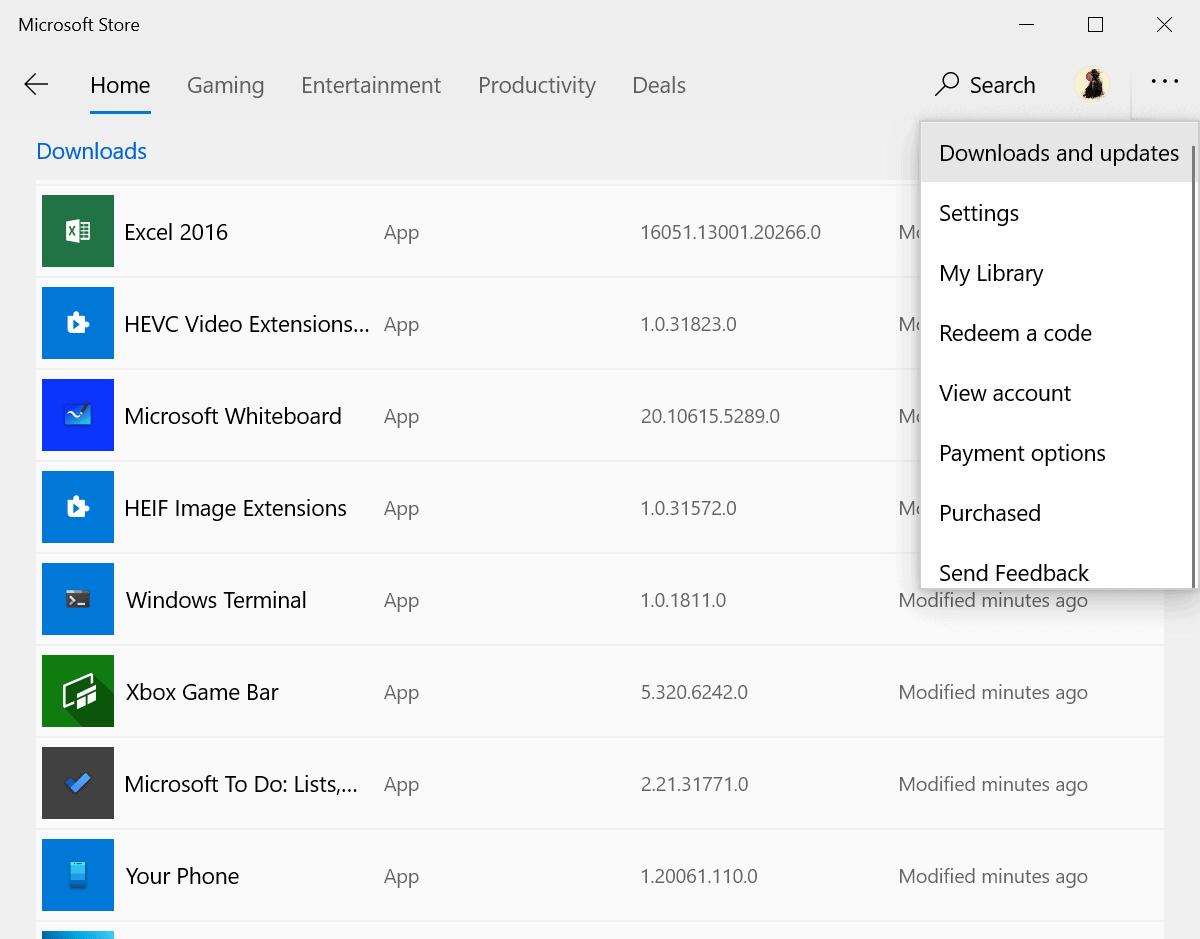 microsoft store downloads updates