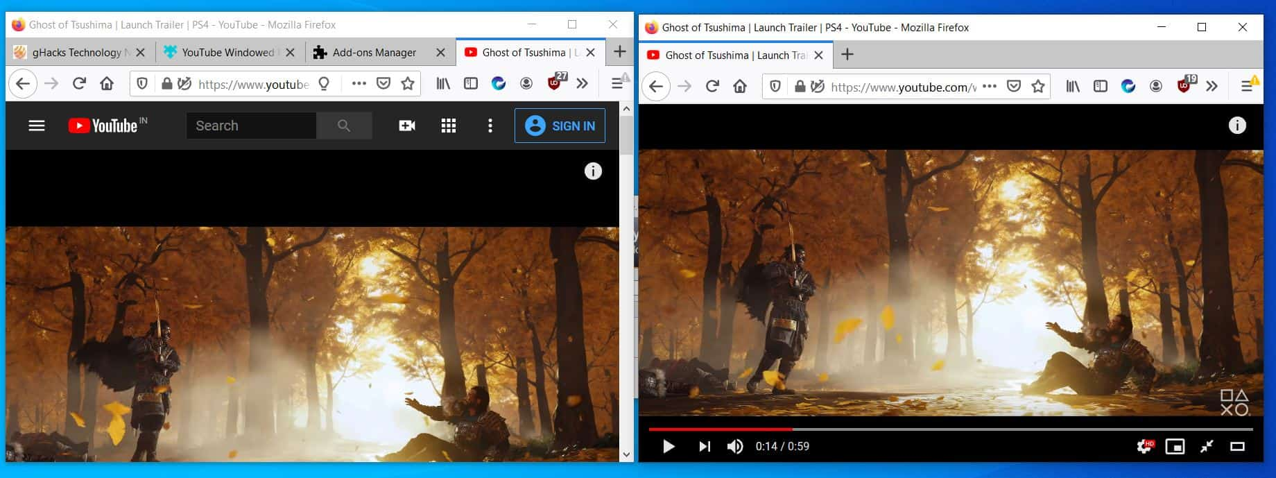 regular resized vs Youtube Windowed FullScreen