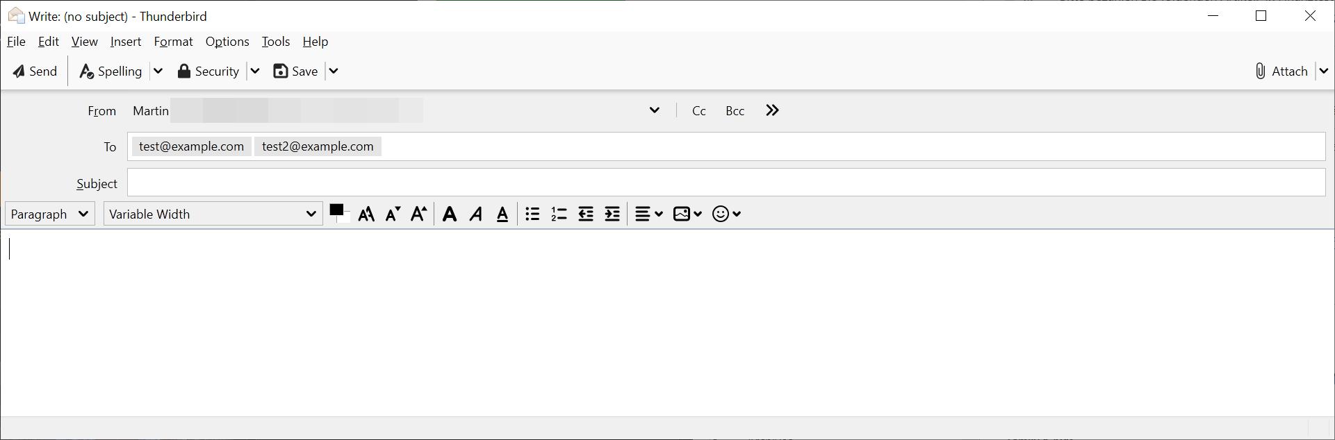 thunderbird multiple emails per line