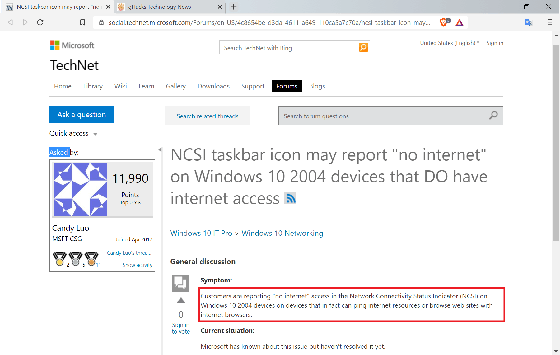 "Windows 10 version 2004 may show ""no Internet"" even though there is Internet access"