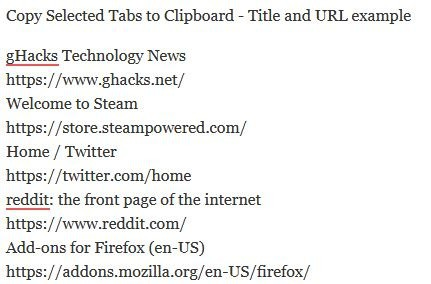 Copy Selected Tabs to Clipboard - Title and URL example