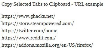 Copy Selected Tabs to Clipboard - URL example