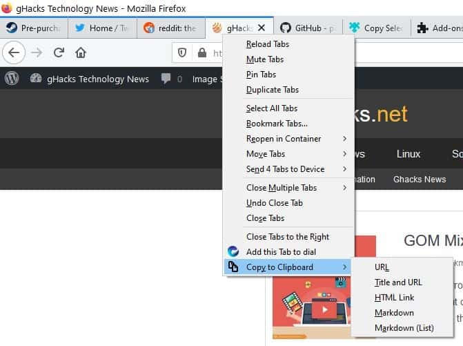 Extract the URL and title from multiple tabs with the Copy Selected Tabs to Clipboard extension for Firefox
