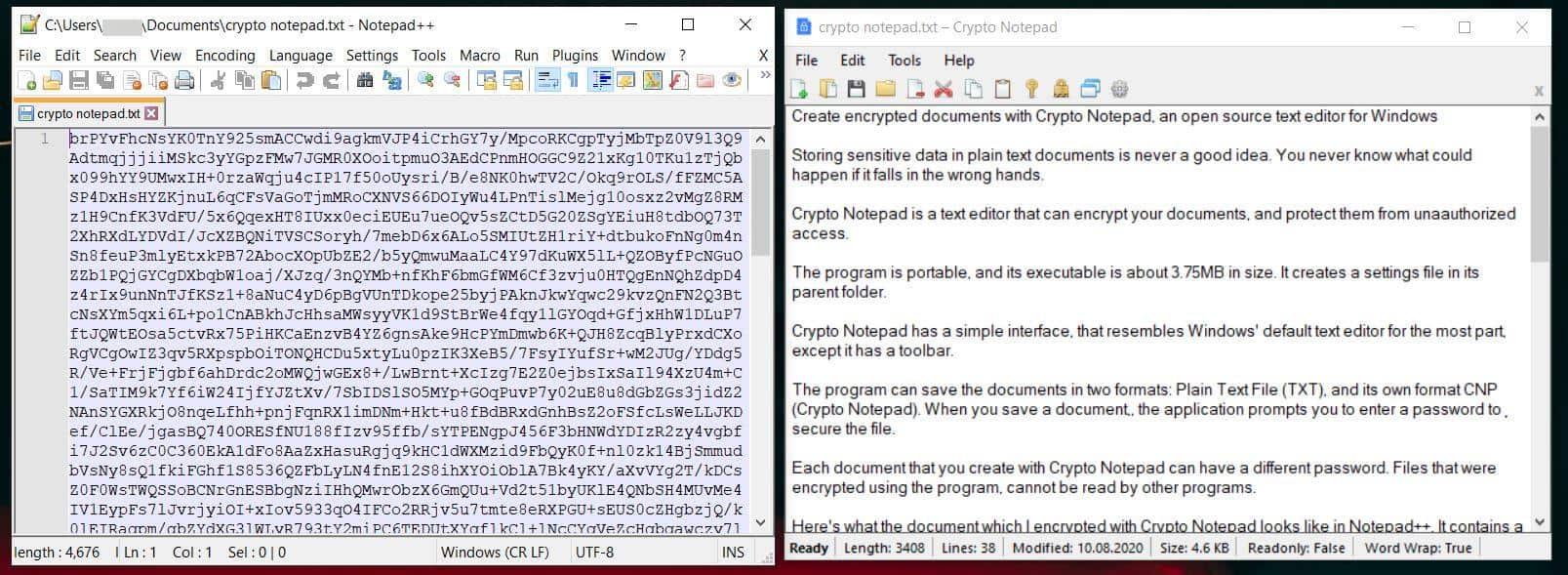 Crypto Notepad encrypted