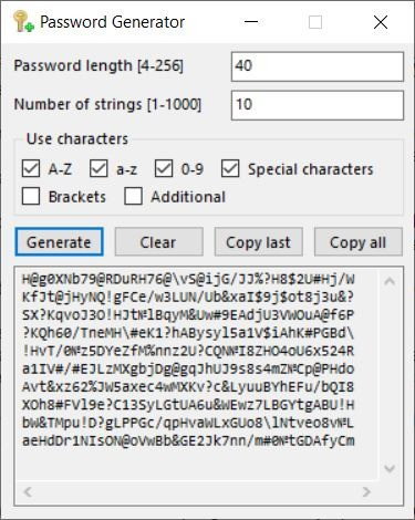 Crypto Notepad password generator