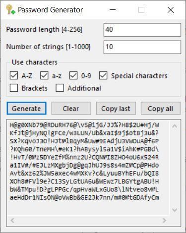 Crypto Notepad password generator