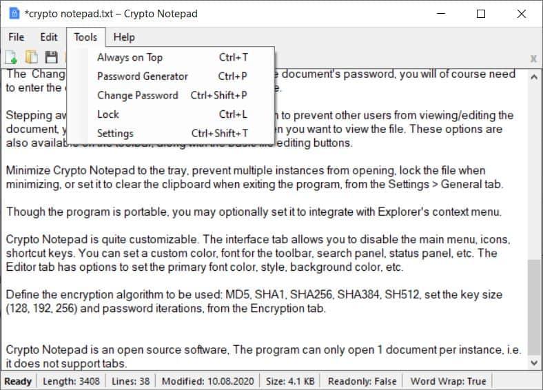 Crypto Notepad tools