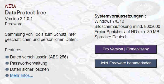 Dataprotect free encryption AES 256 bit