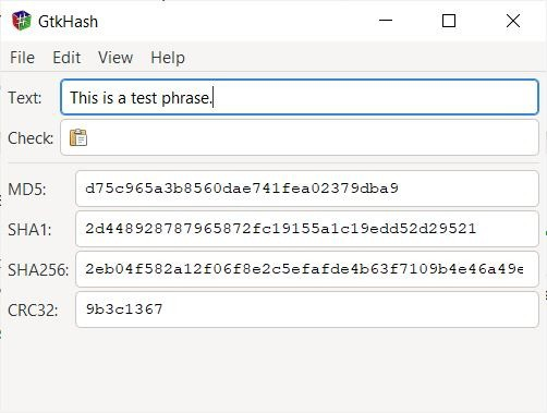 GtkHash text hashing