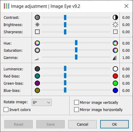 Image Eye adjustment window