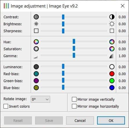 Image Eye adjustment window