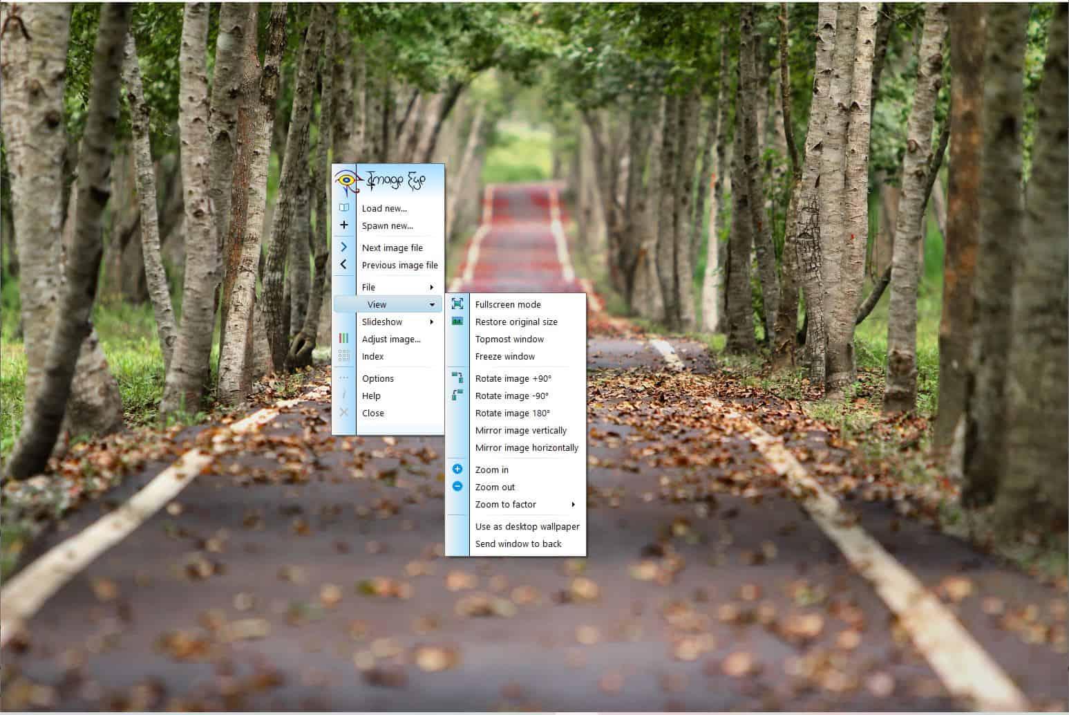 Image Eye view menu
