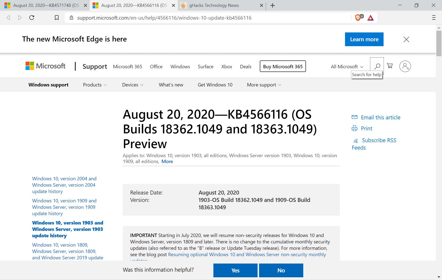 KB4566116 KB4571748 windows 10 updates