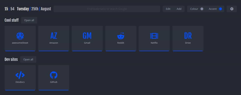 NightTab default settings