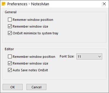 NotesMan settings
