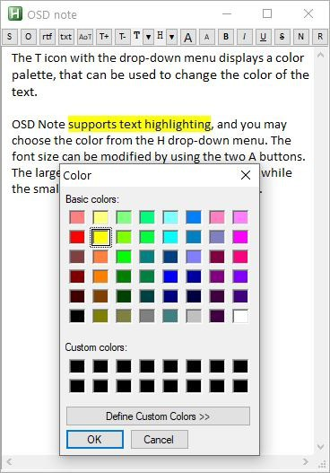 OSD Note Text highlighting
