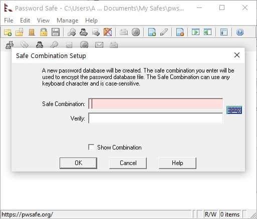Password Safe create safe combination - set master password