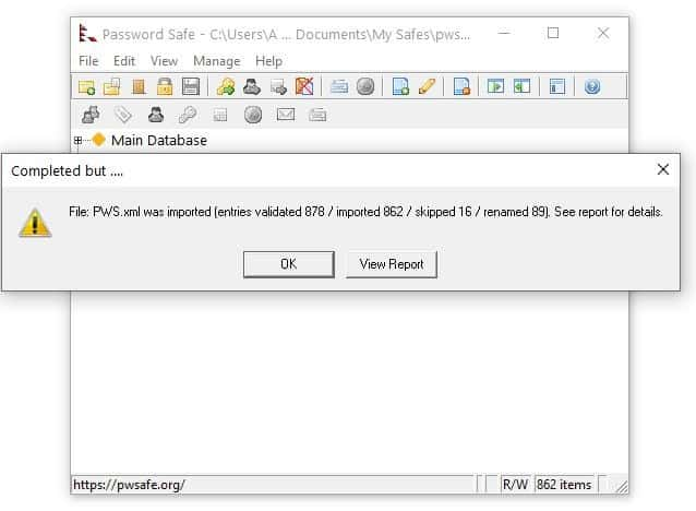 Password Safe import XML from KeePass 2