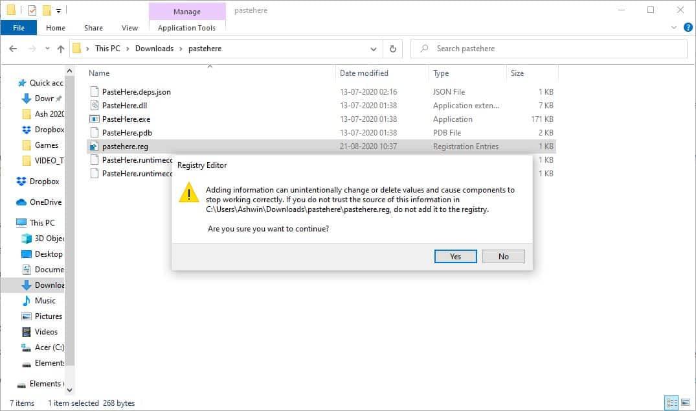 PasteHere Registry File add