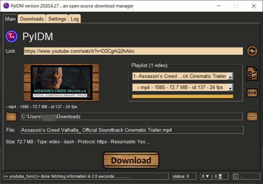 PyIDM download videos