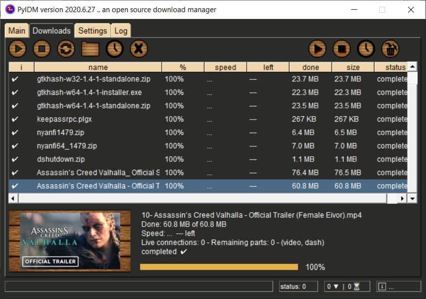 Pyidm downloads tab