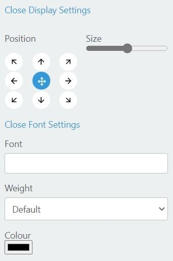 Tabliss font and display settings