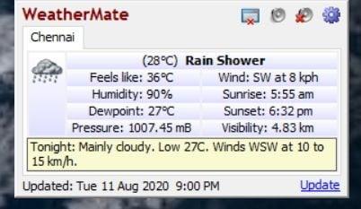 WeatherMate Desktop window