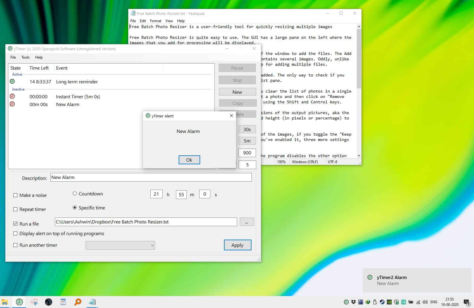 YTimer Alarm and open file