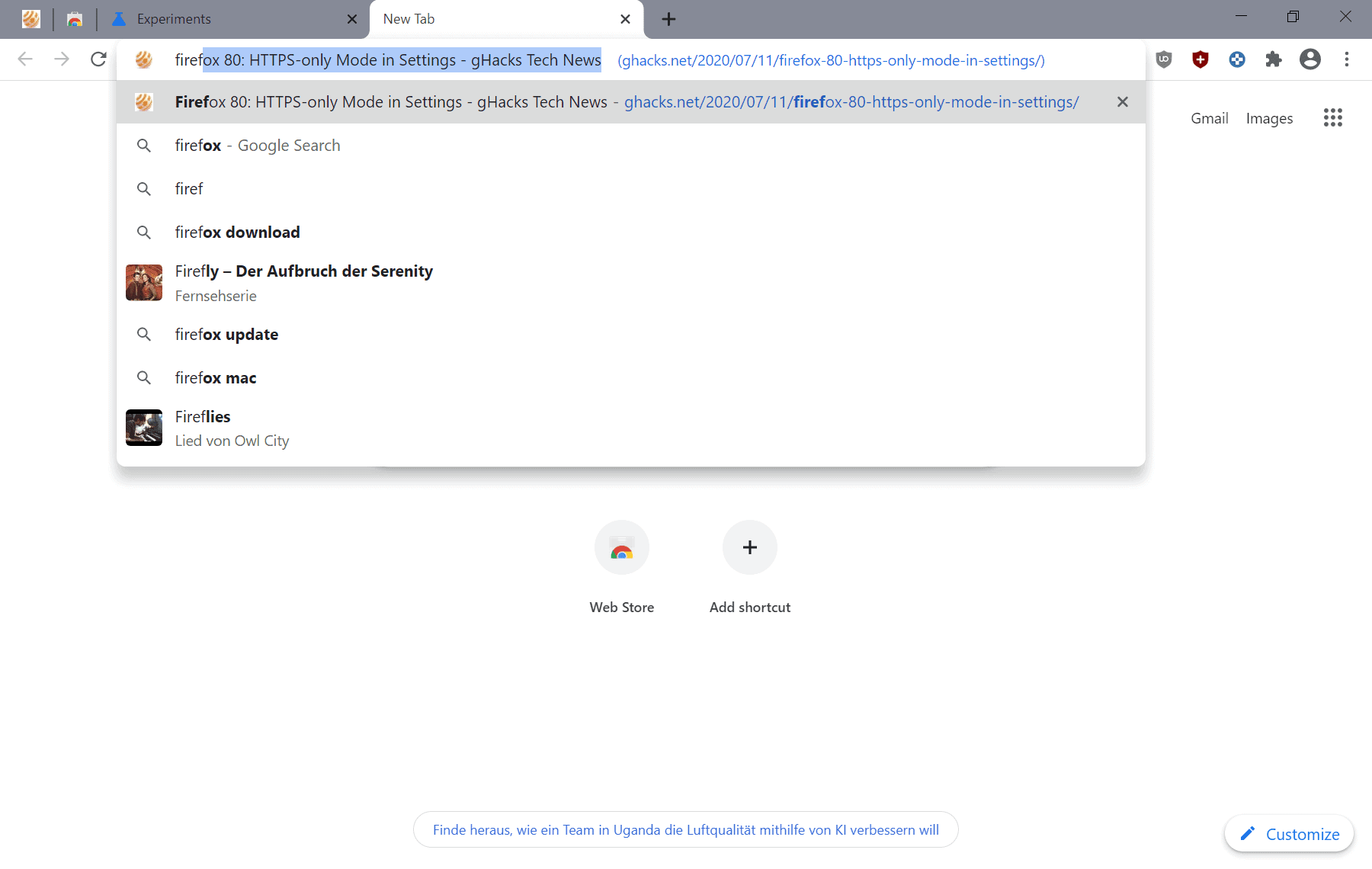 chrome title suggestions