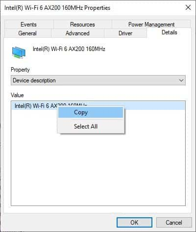 device manager copy network adapter name