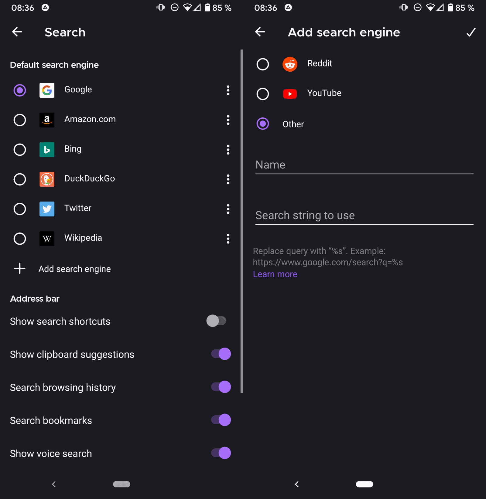 firefox android search