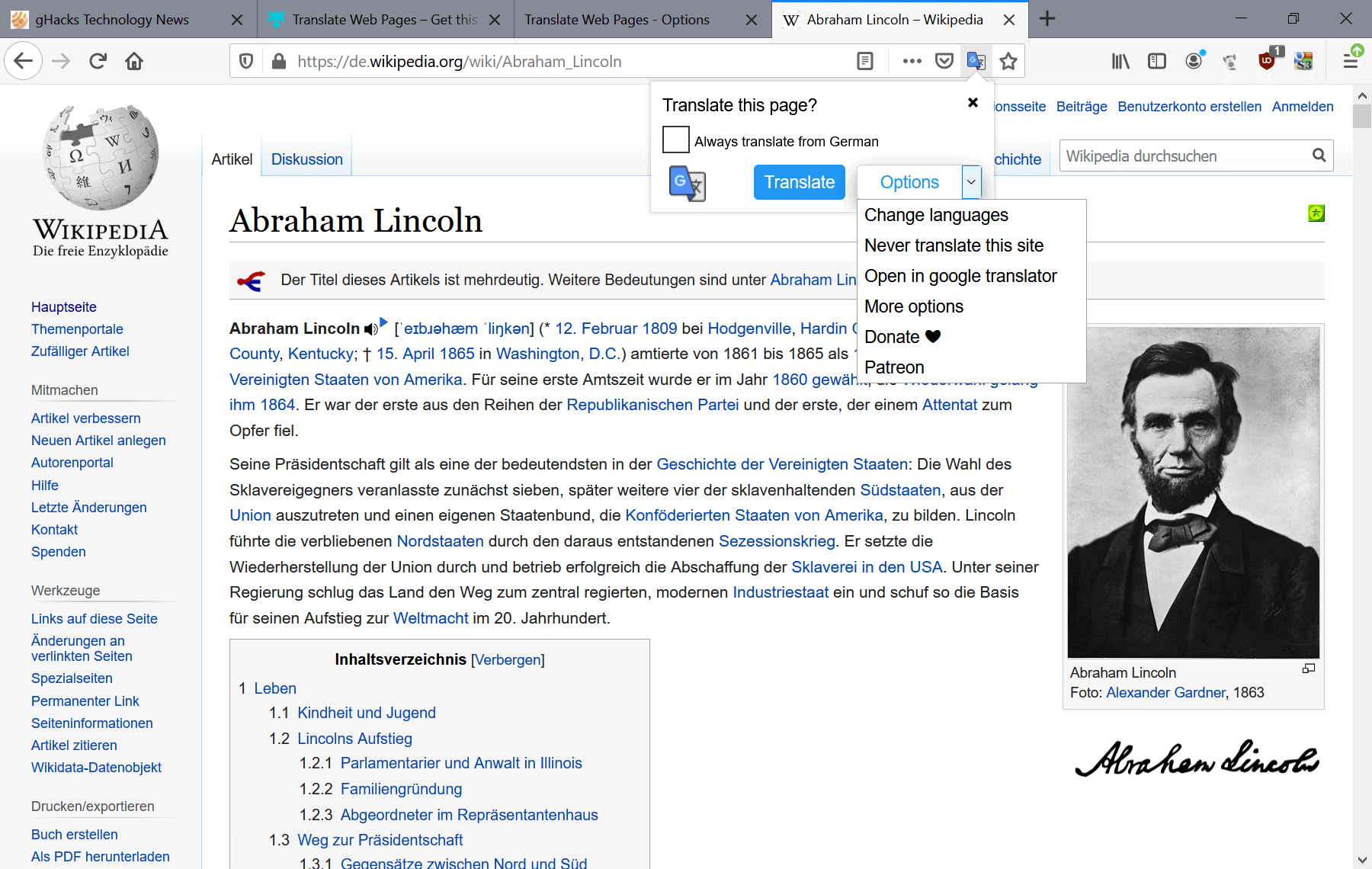 firefox translate web -pages addon