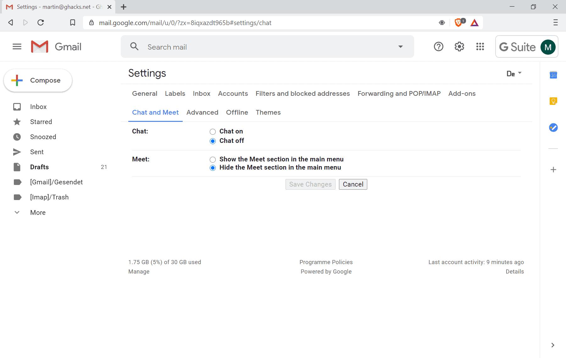 google meet turn off gmail